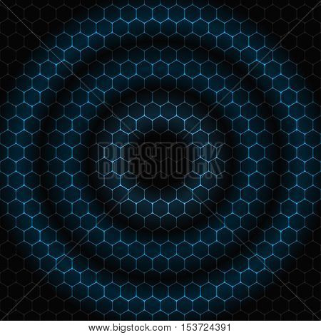 Vector abstract dark gray background with concentric blue circles on the pattern.