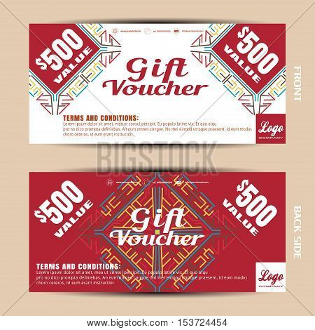 Vector blank of gift voucher on the white and red background with pattern.