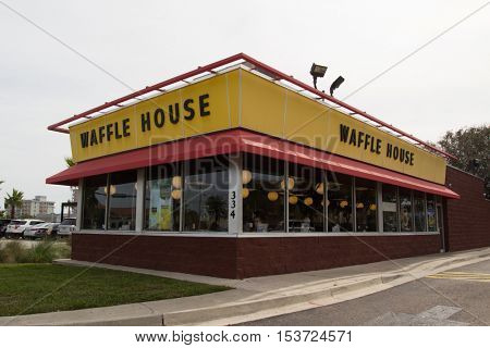 JACKSONVILLE, FL - OCTOBER 25, 2016: A Waffle House in Jacksonville. Waffle House Inc. is a restaurant chain with over 1700 locations found in 25 states in the United States.