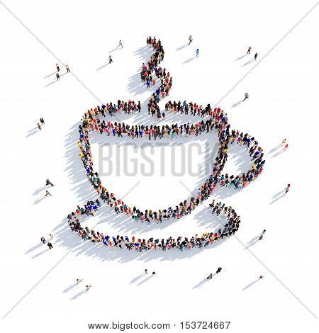 Large and creative group of people gathered together in the shape of a cup of coffee, cup of tea. 3D illustration, isolated against a white background. 3D-rendering.