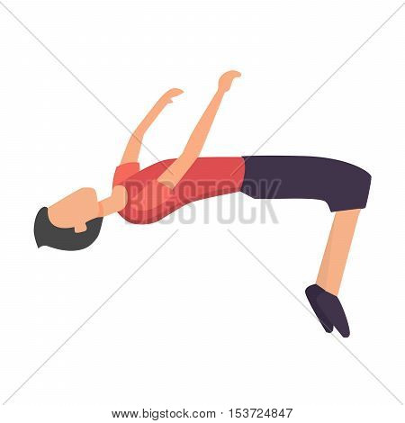 Parkour trick people extreme sport cartoon vector silhouette or city sport