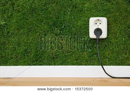 energy concept outlet in green wall