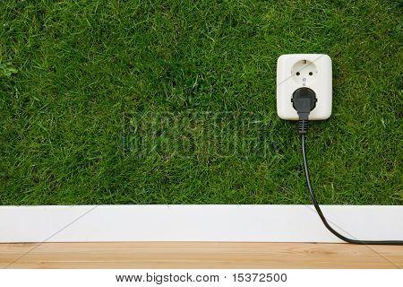 salida del concepto de energía en la pared verde