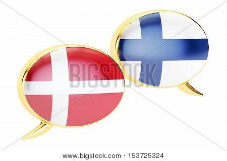 Speech bubbles Danish-Finnish translation concept. 3D rendering