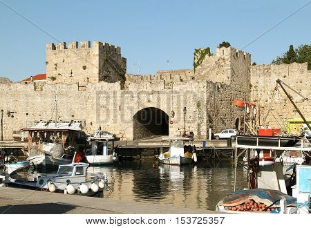 Old Arsenalny Gate fortress of Rhodes. Greece