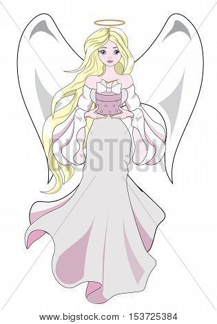 The beautiful fantastic Christmas angel the blonde holds in hand a gift