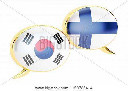 Speech bubbles Korean-Finnish translation concept. 3D rendering