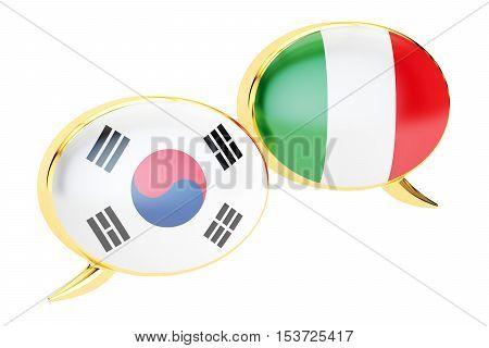 Speech bubbles Korean-Italian translation concept. 3D rendering