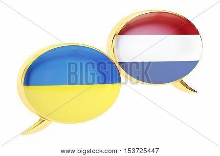 Speech bubbles Ukrainian-Dutch translation concept. 3D rendering