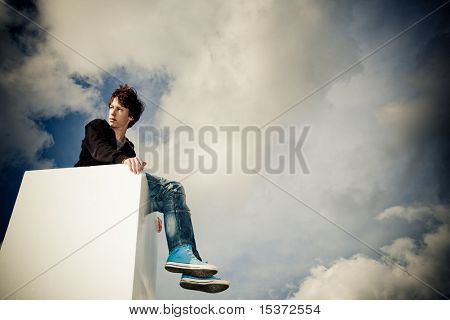 boy looking into the future, expressing freedom