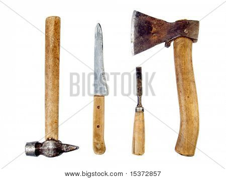 Vintage carpenter's tools isolated on white