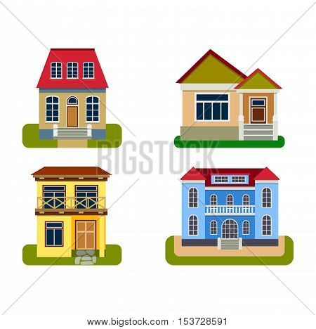 Houses front view vector illustration. Houses flat style modern constructions vector .