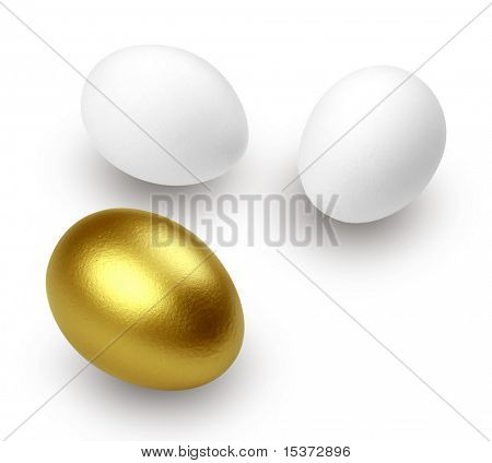 Goldenes Ei und nur Eier, isolated on white