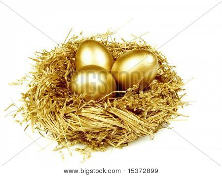 Goldene Ei im Nest gold, isolated on white