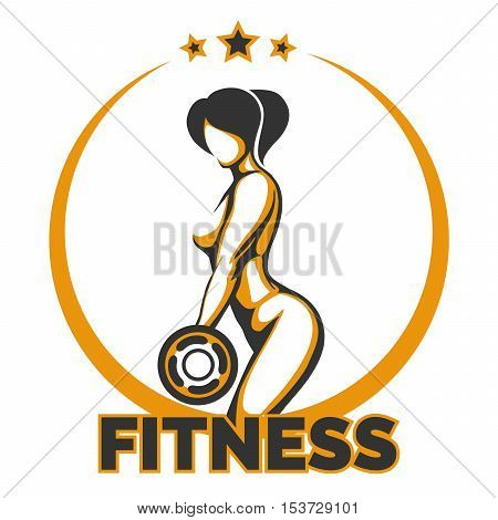 Bodybuilding or Fitness Club Template. Athletic Woman Holding Weight Silhouette. Vector illustration.