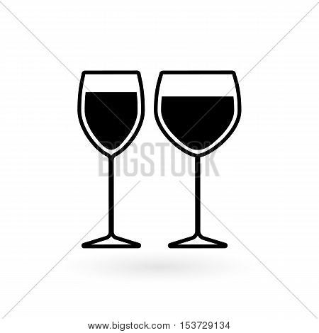vector icon of glasses for wine flat style