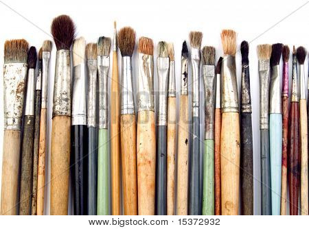 Artist brushes isolated on white