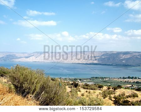 Sea of ??Galilee against the background of the Golan Heights in Israel