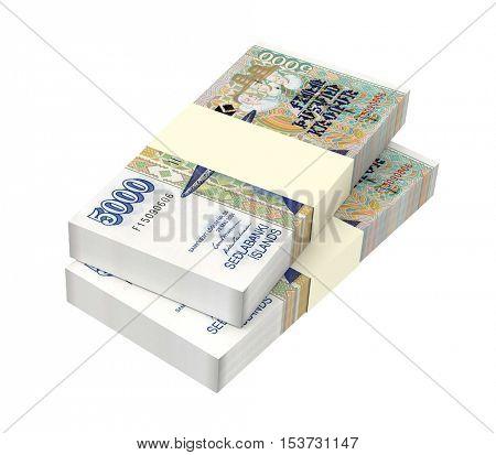 Icelandic krona bills isolated on white background. 3D illustration.