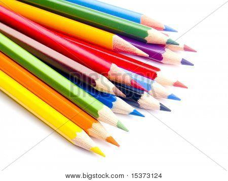 Lápices de colores, aislados en blanco