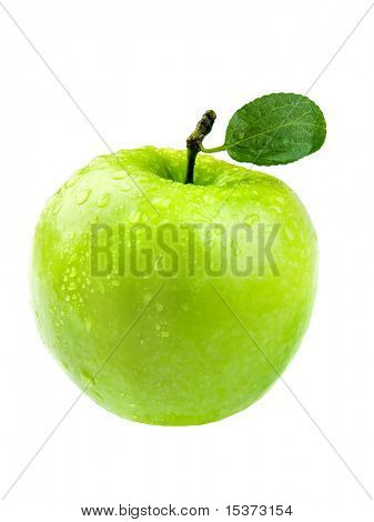 Green apple with leaf and watter drop purely isolated on white