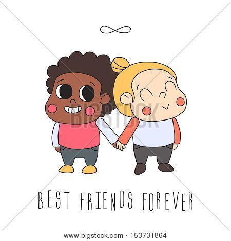 Girl friendship illustration (greeting card) with two girls and infinity symbol. Best friends forever. Cute naive style.