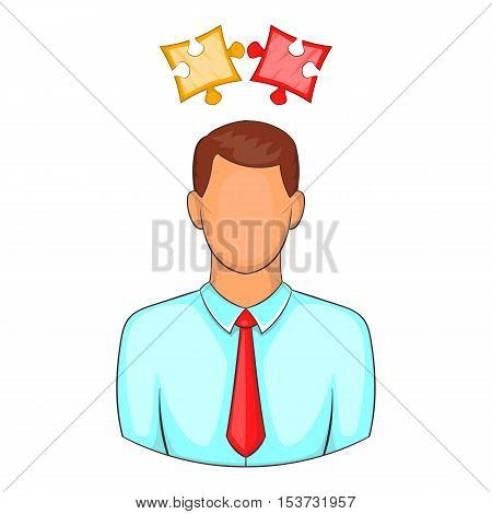 Man with puzzles over his head icon. Cartoon illustration of human emotion vector icon for web design