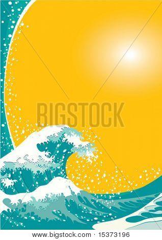 La gran ola, vector de fondo