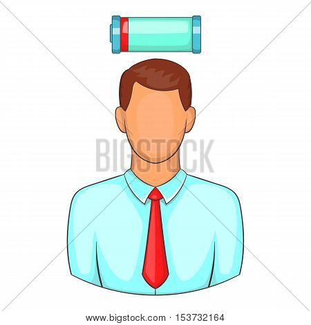 Man with low power battery over his head icon. Cartoon illustration of human emotion vector icon for web design