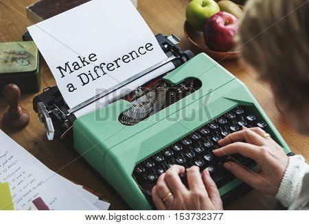 Make a Difference Development Progress Concept