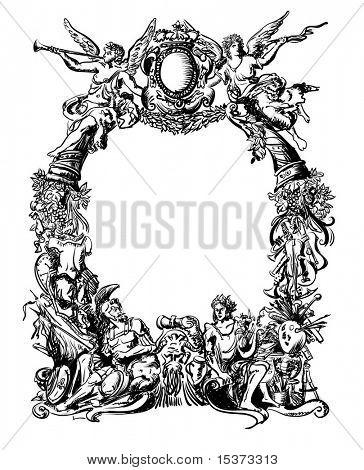 Victoriano estilo heráldico marco