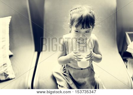Small Girl Drink Milk Concept