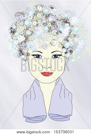 Illustration of a girl with shampoo in her hair and a towel around her neck