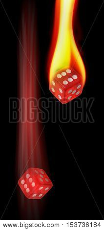 Red hot dice on fire and rolling.
