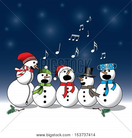 Snowman singing -choir christmas carol isolated on blue and white background