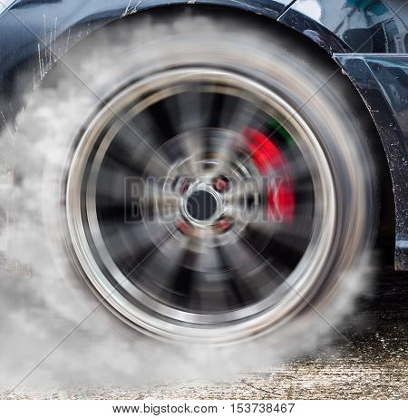 Sport Car Wheel With Drifting And Smoking