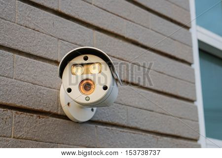 close up CCTV at wall for residence security