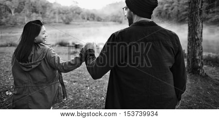 Couple Travel Adventure Holding Hand Happiness Concept