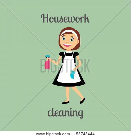 Housekeeper woman make housework. Cleaning around the house vector illustration
