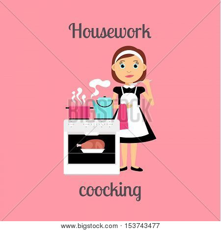 Housekeeper woman make housework. Cooking food vector illustration