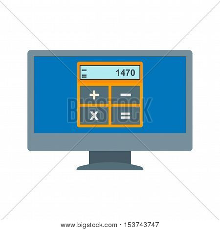 Online, invoice, laptop icon vector image. Can also be used for E Learning. Suitable for mobile apps, web apps and print media.
