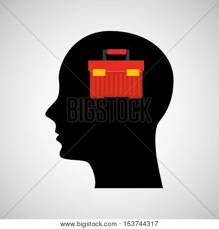head silhouette black icon tool box vector illustration eps 10