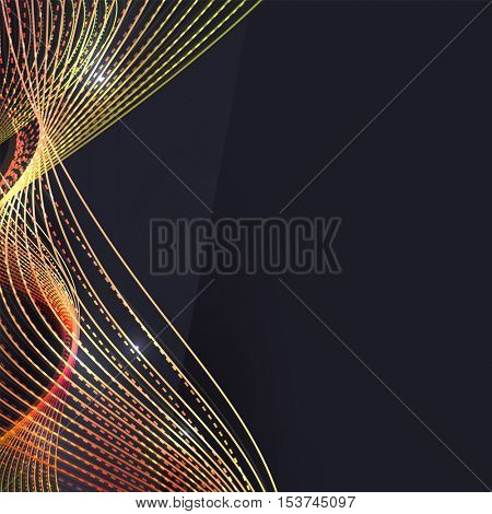 Smoke colorful wave on dark background with glowing and effects