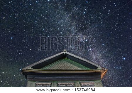 Wonderful Starry Sky Above The Farm House.
