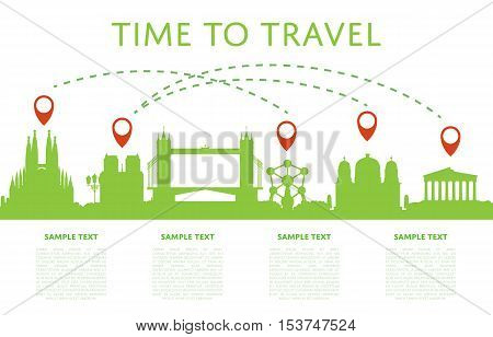 Time to travel concept with worldwide cityscape silhouettes and air traffic. Vector illustrations of famous modern and ancient architectural attractions. Worldwide air traveling. Discover new places.