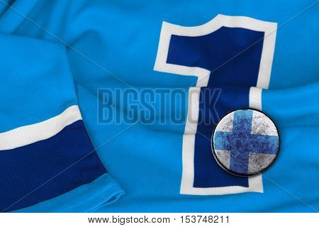 Hockey jersey with the number one Finnish and washer. Texture background