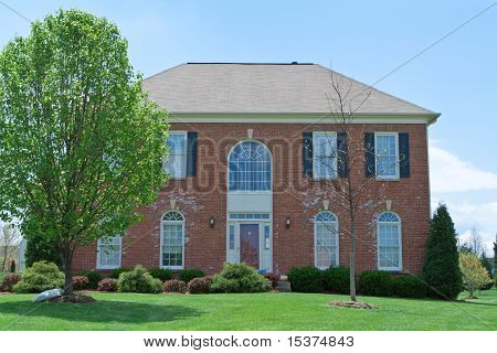 Front View Brick Single Family Home Suburban Md Us