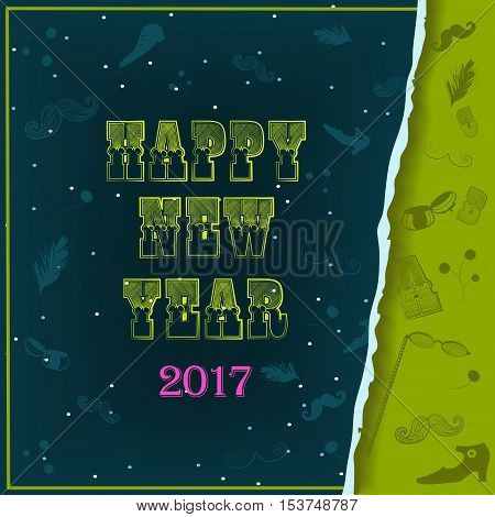 Happy New Year 2017. Vintage greeting card. Yellow artistic font. Vintage fashional items. Night background with snow. Vector illustration. EPS 8