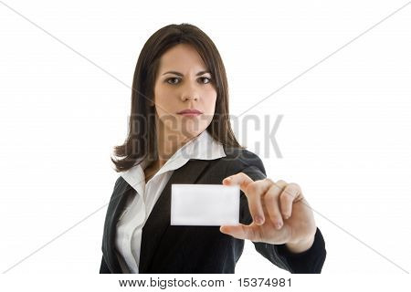 White Businesswoman Suit, Business Card, Isolated