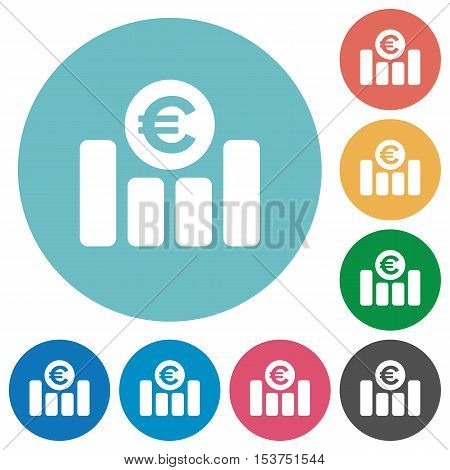 Euro graph flat white icons on round color background.